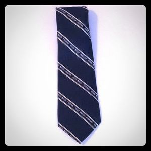 Wolfmark Neck Wear Navy Blue w/ Gold Stripes Tie